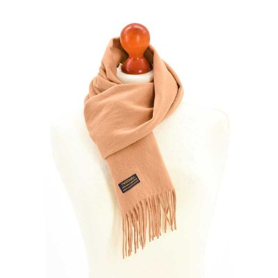 Camel rolled fringe scarf by Tweedmill Textiles