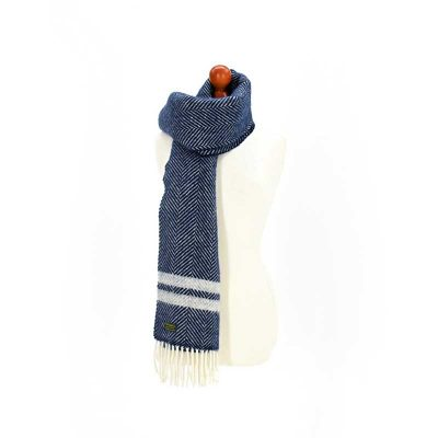 Navy/Silver fishbone scarf by Tweedmill Textiles