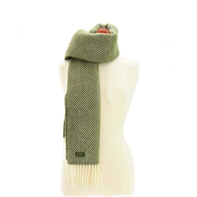 Olive/Cream fishbone scarf by Tweedmill Textiles
