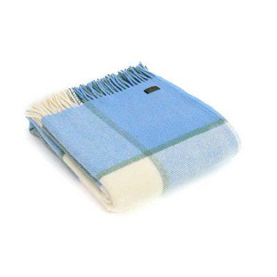 Sea cream block check throw by Tweedmill Textiles