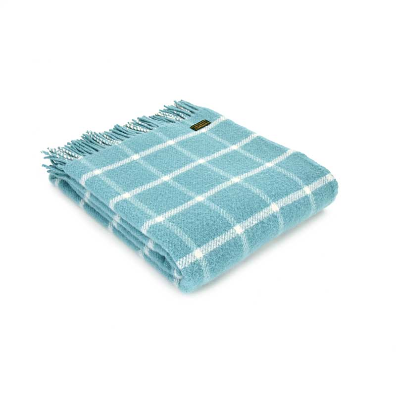 Spearmint chequered check throw by Tweedmill Textiles