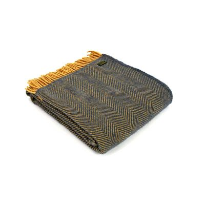 Navy/Mustard herringbone throw by Tweedmill Textiles
