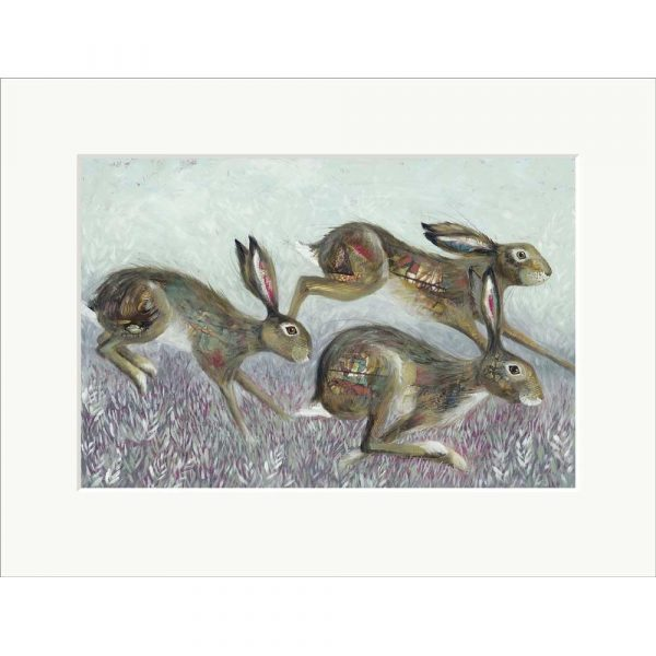 Mounted limited edition print 'Hedge Springers' by Nicola Hart