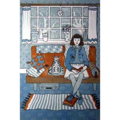 Linocut print of 'Cat Sitting' by Diana Ashdown