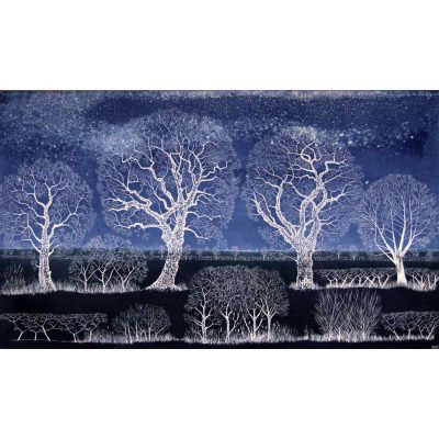 Linocut print of 'Soft Star Night' by Diana Ashdown