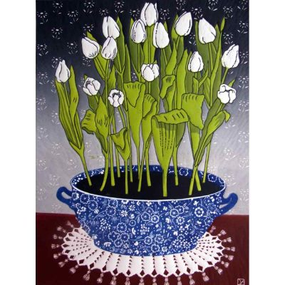 Linocut print of 'White Tulips' by Diana Ashdown