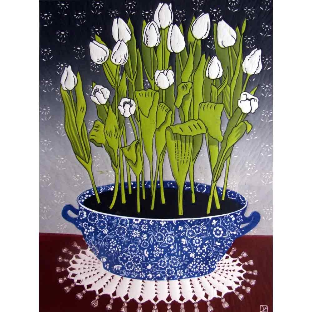 Linocut print of 'White Tulips' by Diana Ashdown