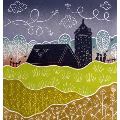 Linocut print of 'Little Snoring' by Diana Ashdown