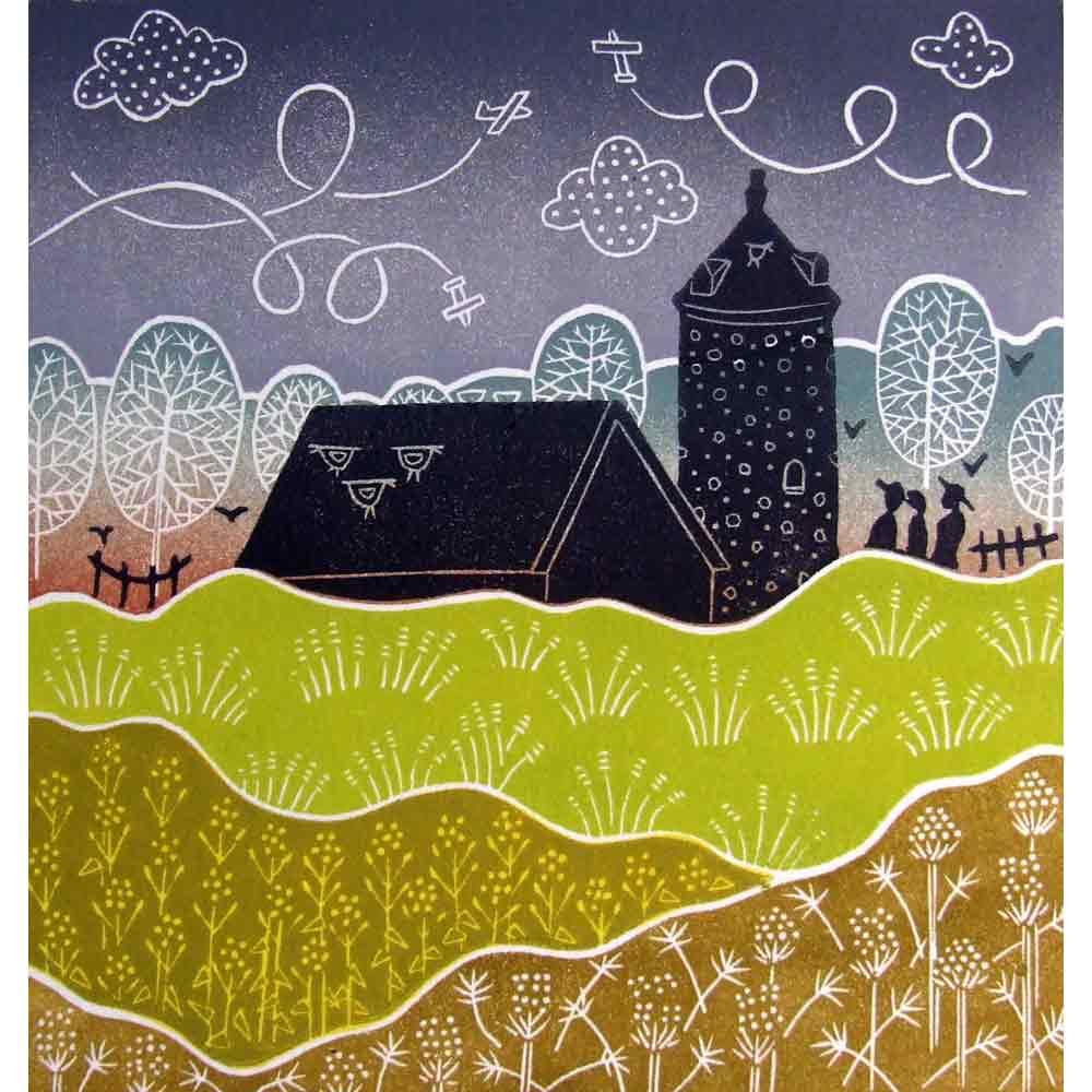 Linocut print of 'Little Snoring' by Diana Ashdown