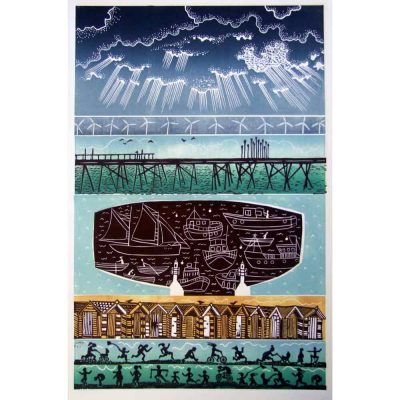 Linocut print of 'Lowestoft' by Diana Ashdown