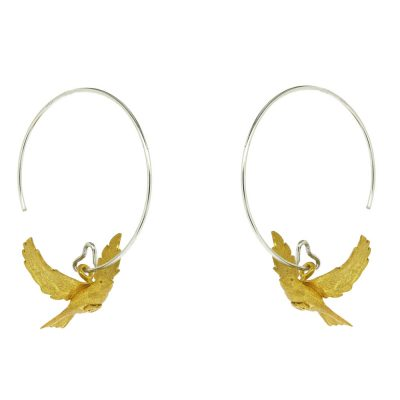 Sterling silver and gold plated flying doves earrings