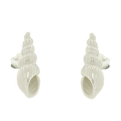 Sterling silver stud earrings in shape of auger shells