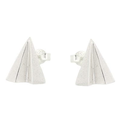 Sterling silver stud earrings in shape of paper airplanes