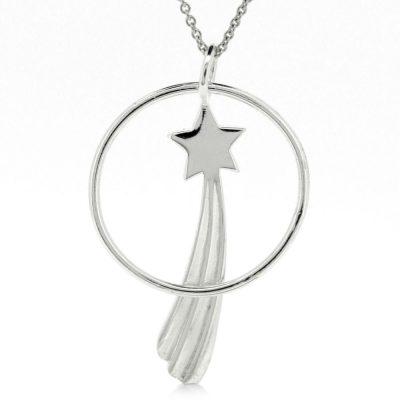Sterling silver shooting star & circle pendant