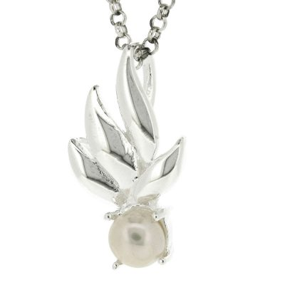 Sterling silver spring leaves & pearl pendant