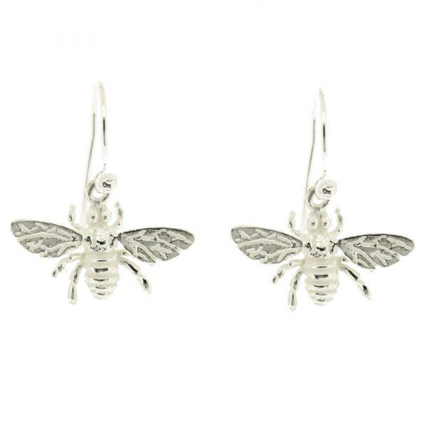 Sterling silver honey bee drop earrings
