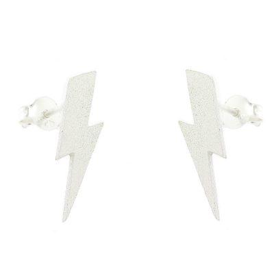 Sterling silver stud earrings in shape of lightning bolts