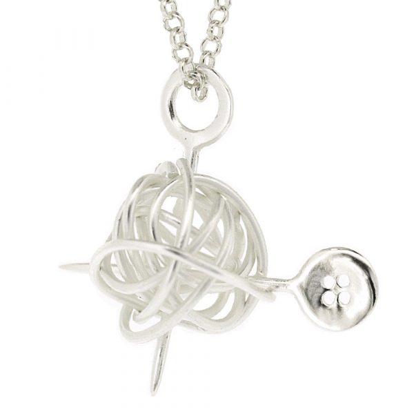 Sterling silver knitting wool pendant