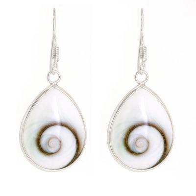 Large Shiva's eye teardrop earrings with silver hooks