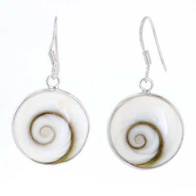 Large Shiva's eye round earrings with silver hooks