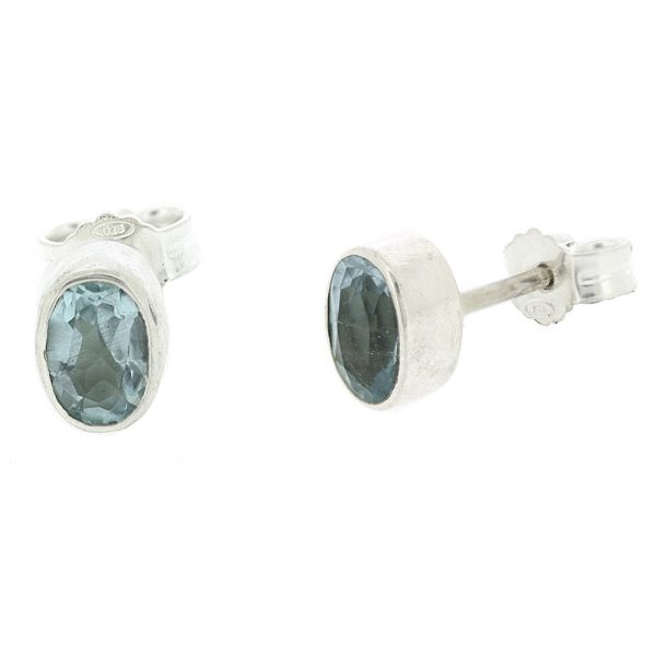 Small oval blue topaz stud earrings