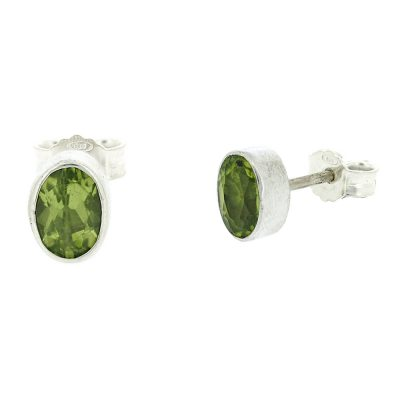 Small oval peridot stud earrings