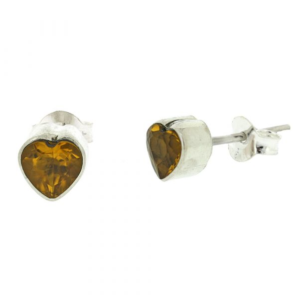 Small heart shaped citrine stud earrings