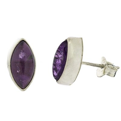Marquise shaped amethyst stud earrings