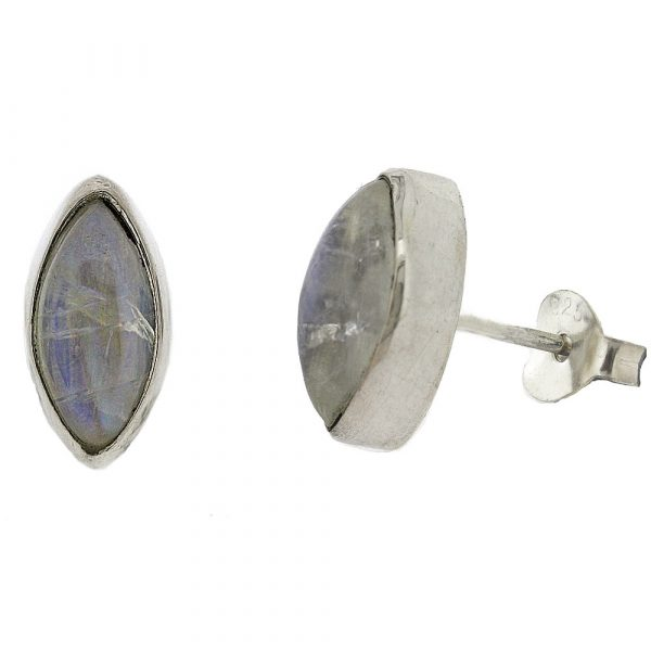 Marquise shaped moonstone stud earrings