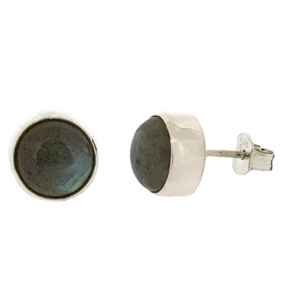 Simple round labradorite stud earrings