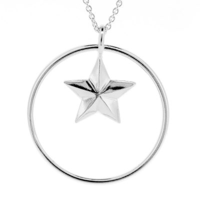 Sterling silver star & circle pendant