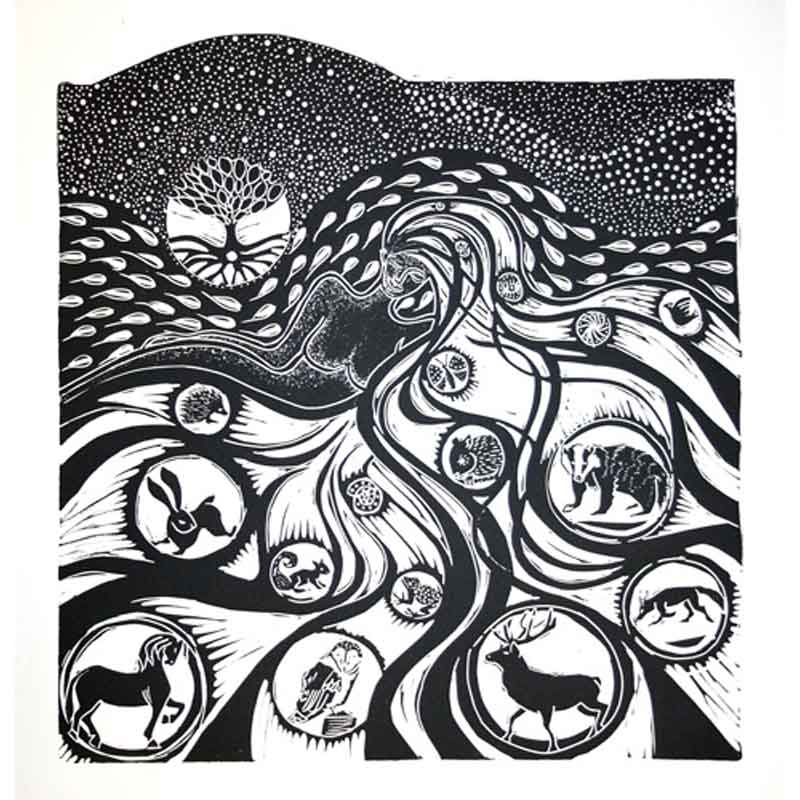 Black & white linocut of female earth mother figure with animals