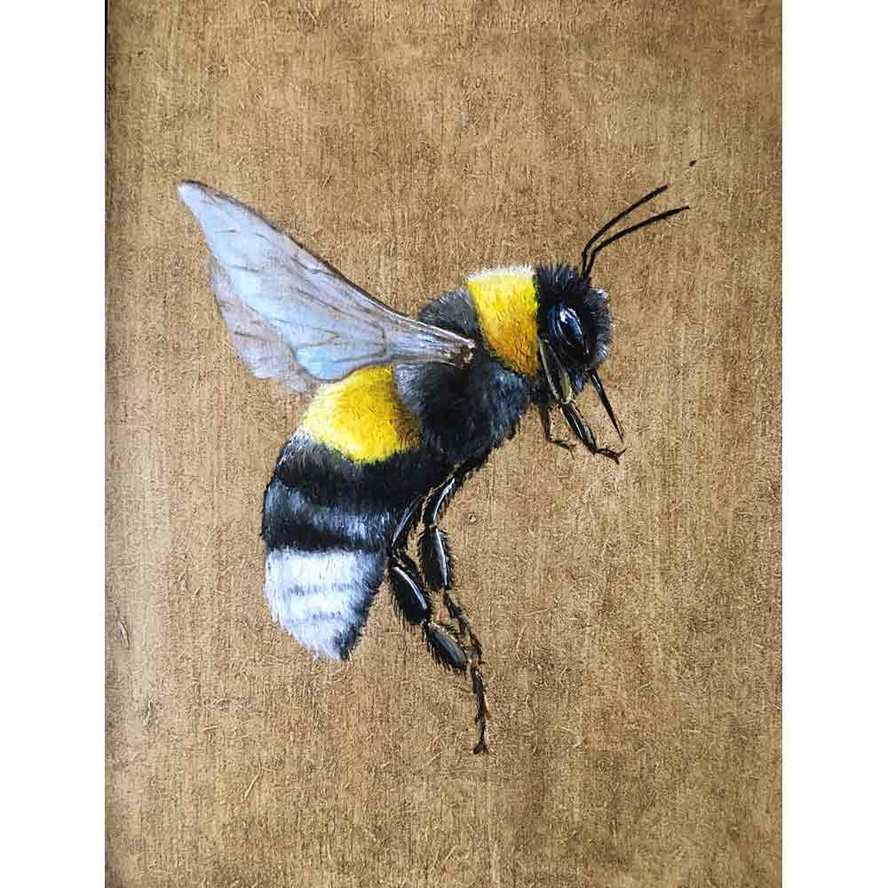 painting of bumblebee in flight by Becky Munting