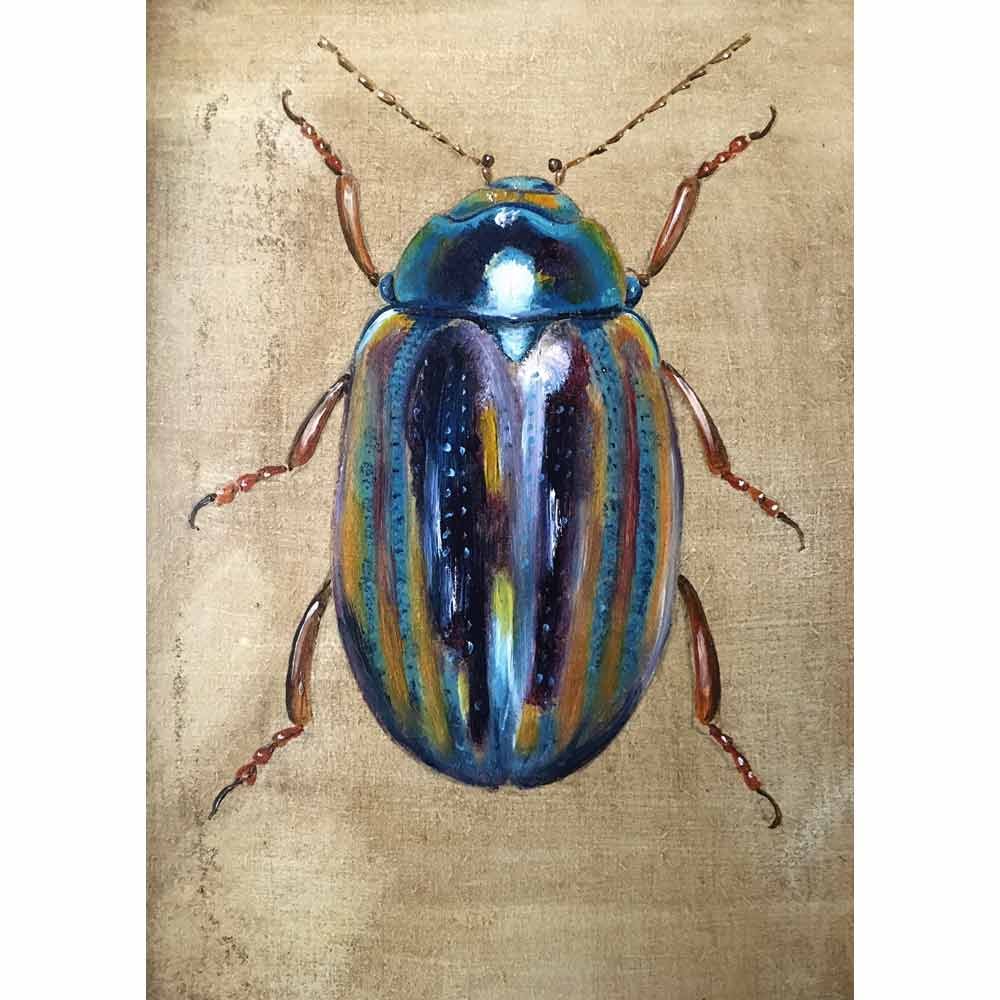 painting of lavender coloured beetle by Becky Munting