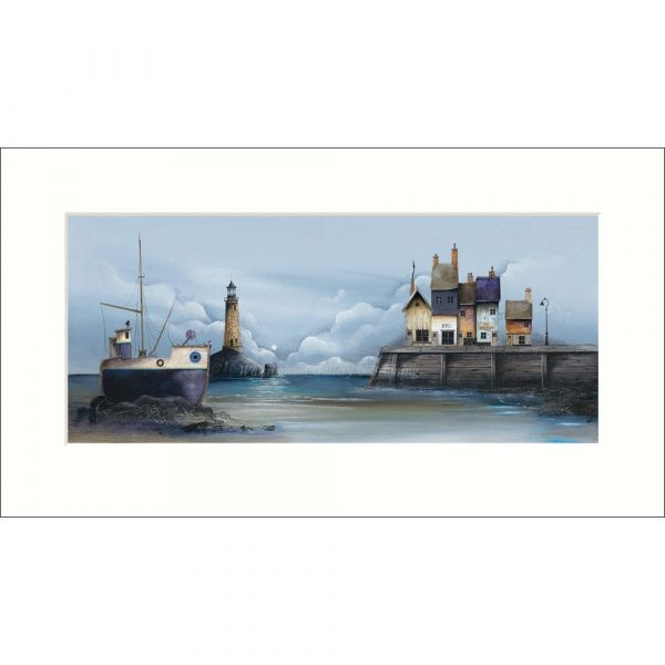 Mounted limited edition print 'The Quayside' by Gary Walton