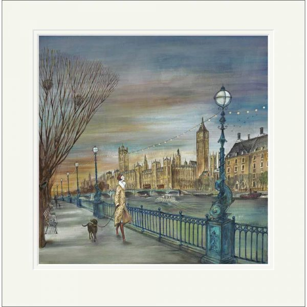 Mounted limited edition print 'Sunset Stroll' by Joe Ramm