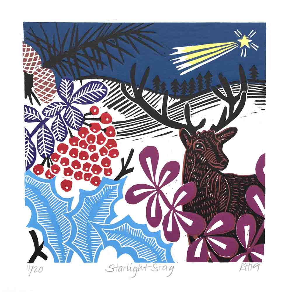 linocut print of a stag by Kate Heiss