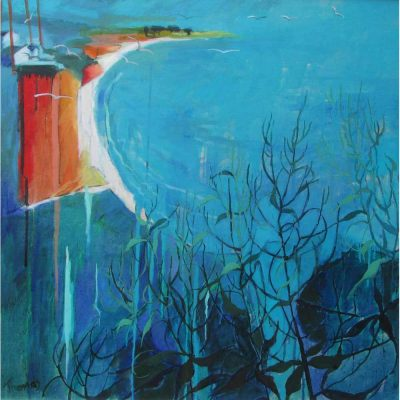 Oil painting od light on coastline by Rachel Thomas