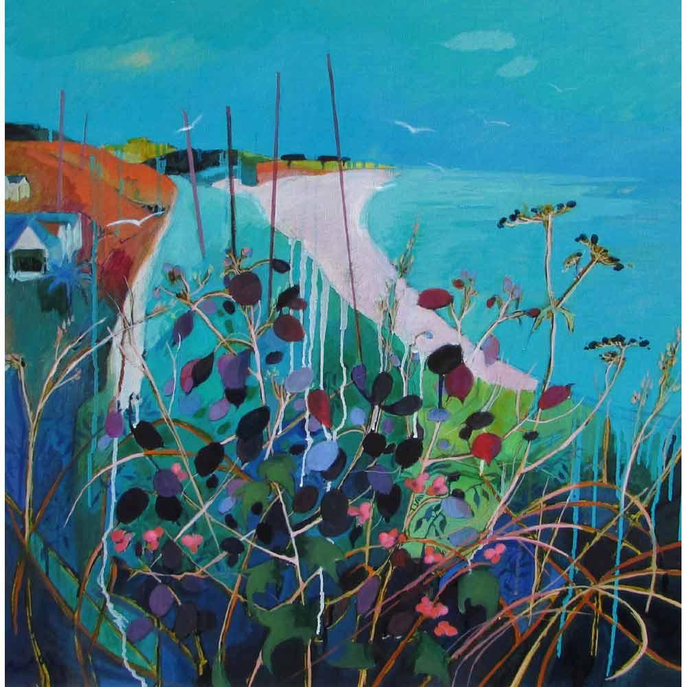Oil painting of colourful coastline by Rachel Thomas