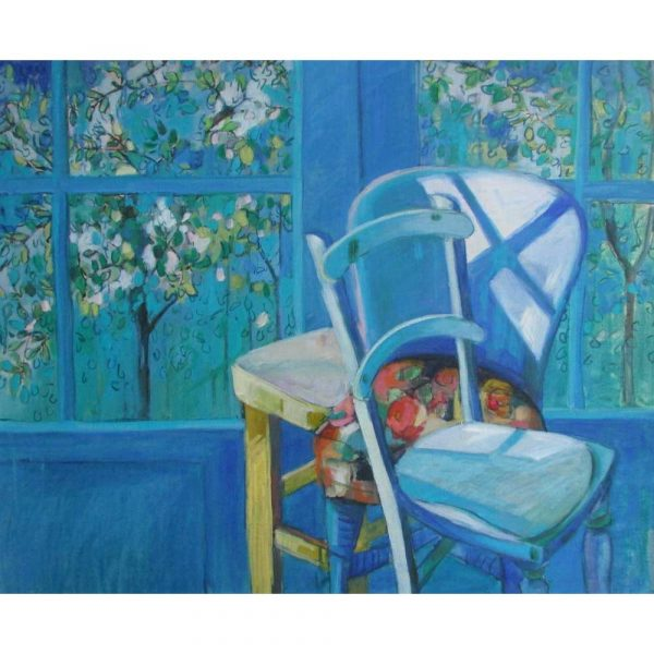 Oil painitng of chairs in sunlight by Rachel Thomas