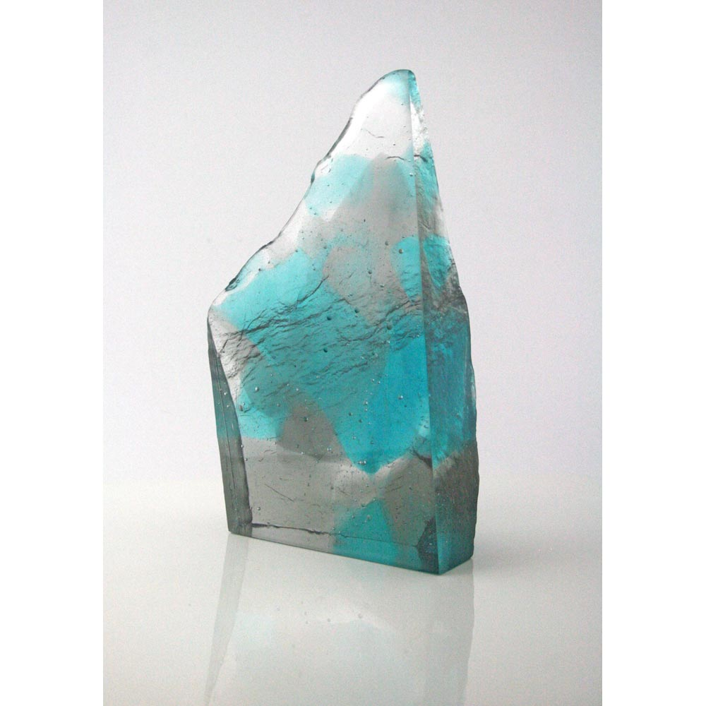 cast glass sculpture of sea cliff formation