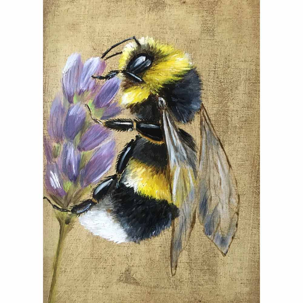 painting of bumblebee on lavender by Becky Munting