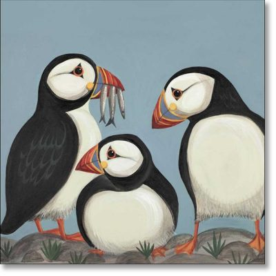 Greeting card of 'Huffin and a Puffin' by Catriona Hall