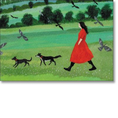 Greetings card of 'Woman in Red' by Dee Nickerson