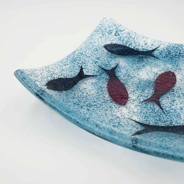 detail of fused glass fish dish by Fiona Fawcett