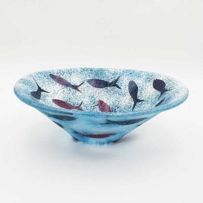 Fused glass fish bowl by Fiona Fawcett
