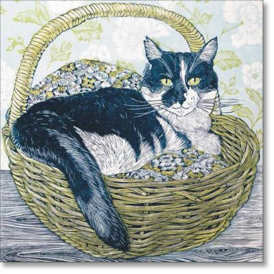 Greeting card of 'Cat in a Basket' by Vanessa Lubach