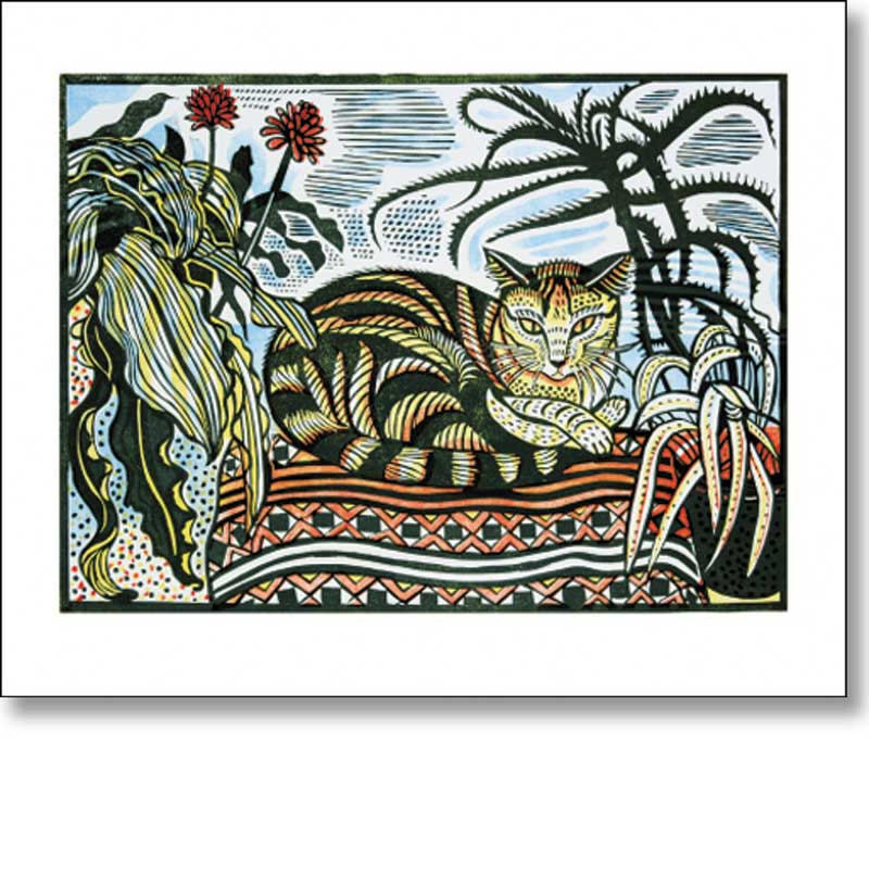 Greetings card depicting a cat 'Jessie' by Richard Bawden