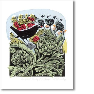 Greetings card of 'Blackbird Stealing Red Currants' by Angela Harding