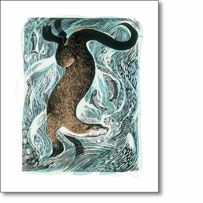 Greetings card of 'Fishing Otter' by Angela Harding